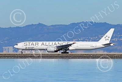B777P 00497 A Boeing 777 Singapore Airline STAR ALLIANCE 9V-SWJ during its take-off roll at SFO 12-2014 airliner picture by Peter J Mancus