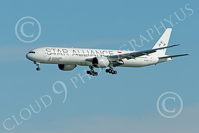 B777P 00484 A Boeing 777 Singapore Airline STAR ALLIANCE 9V-SWJ on final approach to land at SFO 12-2014 airliner picture by Peter J Mancus