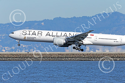 B777P 00490 Close up of the nose of a Boeing 777 Singapore Airline STAR ALLIANCE 9V-SWJ on final approach to land at SFO 12-2014 airliner picture by Peter J Mancus