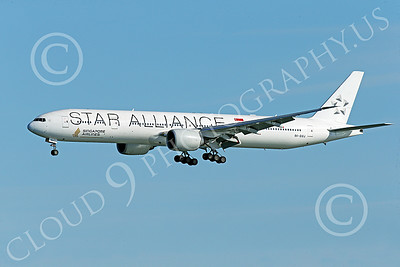 B777P 00486 A Boeing 777 Singapore Airline STAR ALLIANCE 9V-SWJ on final approach to land at SFO 12-2014 airliner picture by Peter J Mancus