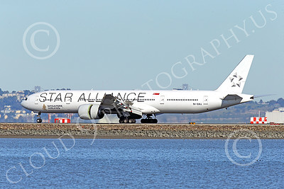 B777P 00483 A Boeing 777 Singapore Airline STAR ALLIANCE 9V-SWJ rolls out after landing at SFO 12-2014 airliner picture by Peter J Mancus