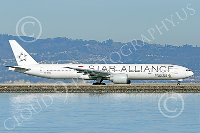 B777P 00495 A Boeing 777 Singapore Airline STAR ALLIANCE 9V-SWJ taxis at SFO 12-2014 airliner picture by Peter J Mancus