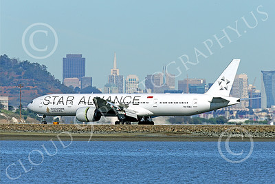 B777P 00485 A Boeing 777 Singapore Airline STAR ALLIANCE 9V-SWJ rolls out after landing at SFO 12-2014 airliner picture by Peter J Mancus