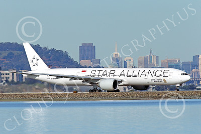 B777P 00491 A Boeing 777 Singapore Airline STAR ALLIANCE 9V-SWJ taxis at SFO 12-2014 airliner picture by Peter J Mancus