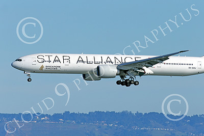 B777P 00488 Close up of the nose of a Boeing 777 Singapore Airline STAR ALLIANCE 9V-SWJ on final approach to land at SFO 12-2014 airliner picture by Peter J Mancus