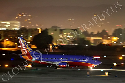 B737 00171 A Southwest Boeing 737 taxis to take-off at night at LAX airline picture, by Peter J Mancus