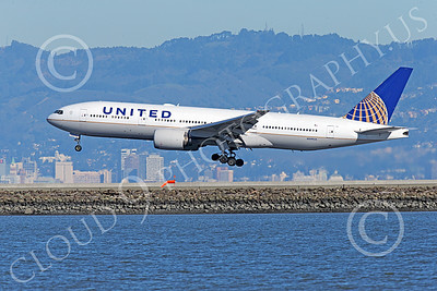B777P 00494 A Boeing 777 United Airline N209UA lands at SFO 12-2014 airliner picture by Peter J Mancus