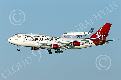 B747 01550 A Boeing 747 Virgin Atlantic on final approach to land at SFO simultaeously with a United Airliner regional jet airliner picture by Peter J Mancus