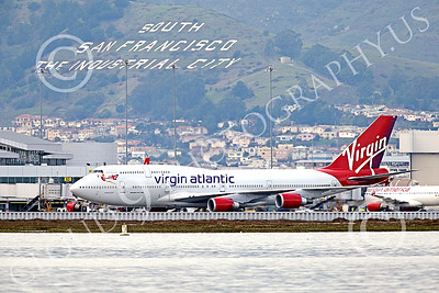B747 01549 A Boeing 747 Virgin Atlantic taxis at SFO 12-2014 airliner picture by Peter J Mancus