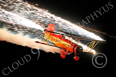 ASP-GS 00002 Gene Soucy's Grumman G-164A Showcat during a night performance, airplane picture, by Peter J Mancus