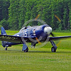 WB-Sea Fury 00017 A blue Hawker Sea Fury fighter taxis on beautiful grass warbird picture by Stephen W  D  Wolf