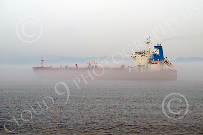 CCS 00027 A civilian cargo ship under power in thick fog in New York Harbor, by John G Lomba