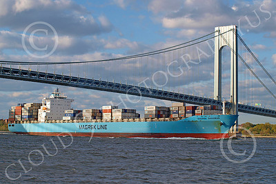 CCS 00013 Civilian cargo ship MAERSK DHAHRAN Monrovia sails under a bridge, by John G  Lomba