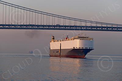 CCS 00012 Civilian cargo ship MAERSK WAVE sails under a bridge, by John G  Lomba