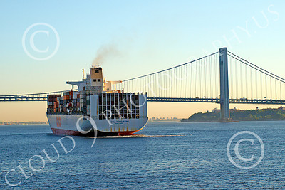 CCS 00024 Civilian cargo ship OOCL Hong Kong, in New York harbor, by John G Lomba