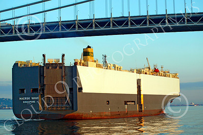 CCS 00011 Civilian cargo ship MAERSK WAVE sails under a bridge, by John G  Lomba