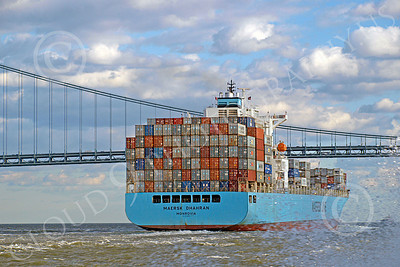 CCS 00022 Civilian cargo ship MAERSK DHAHRAN Monrovia in New York harbor, by John G Lomba