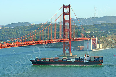 CCS 00002 Civilian cargo ship Santa Monica enters San Francisco Bay sailing under the Golden Gate Bridge by Peter J Mancus