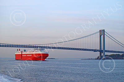 CCS 00016 Civilian cargo ship WALLENIUS WILHELMSEN sails under a bridge, by John G  Lomba