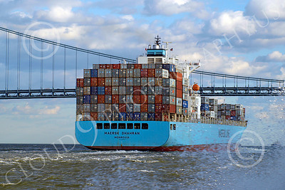 CCS 00014 Civilian cargo ship MAERSK DHAHRAN Monrovia sails toward a bridge, by John G  Lomba