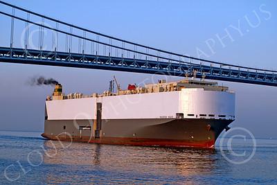 CCS 00010 Civilian cargo ship MAERSK WAVE sails under a bridge, by John G  Lomba