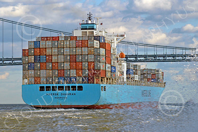 CCS 00025 Civilian cargo ship MAERSK DHAHRAN Monrovia in New York harbor, by John G Lomba