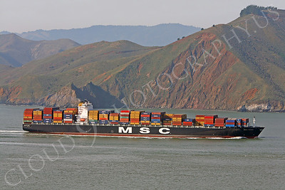 CCS 00006 Civilian cargo ship MSC Texas approaches San Francisco Bay by Peter J Mancus