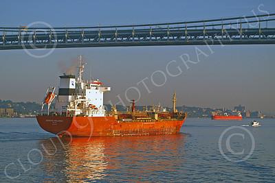 COTS 00016 Civilian oil tanker ship NORDIC HELSINKI sails under a bridge in New York harbor, by John G Lomba