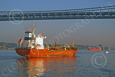 COTS 00016 Civilian oil tanker ship NORDIC HELSINKI sails under a bridge in New York harbor, by John G Lomba