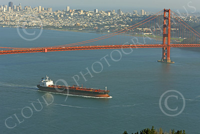 COTS 00077 An expansive view of the oil tanker CABO HELLAS as it sails beneath the Golden Gate Bridge, by Peter J Mancus