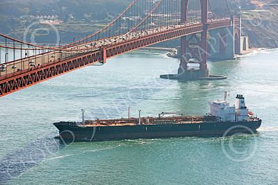 COTS 00126 An elevated port view of the massive ocean tanker ship OREGON VOYAGER as it is about to sail under the Golden Gate Bridge, by Peter J Mancus
