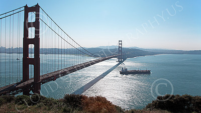 COTS 00073 An expansive view of a massive civilian ocean tanker ship leaving San Francisco Bay, by Peter J Mancus