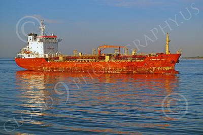 COTS 00018 Civilian oil tanker ship NORDIC HELSINKI sails under a bridge in New York harbor, by John G Lomba
