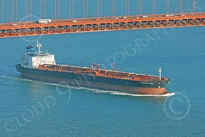 COTS 00101 The oil tanker CABO HELLAS sails under the Golden Gate Bridge toward the Pacific Ocean, by Peter J Mancus