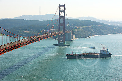 COTS 00140 A moderately expansive view of the oil tanker ship OREGON VOYAGER as it approached the Golden Gate Bridge, by Peter J Mancus