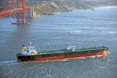 COTS 00120 A starboard elevated view of the massive Greek ocean tanker ship NEAPOLIS, after it sailed under the Golden Gate Bridge and into the Pacific Ocean, by Peter J Mancus
