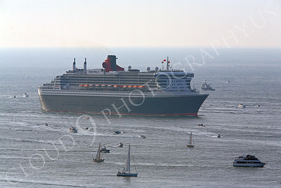 OLS 00002 Small boats greet the Queen Mary 2 as she approaches San Francisco Bay for the first time by Peter J Mancus
