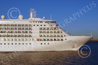 OLS 00035 SILVERSEAS' ocean liner SILVER WHISPER under way in New York Harbor, by John G Lomba