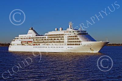 OLS 00027 SILVERSEAS' ocean liner SILVER WHISPER under way in New York Harbor, by John G Lomba