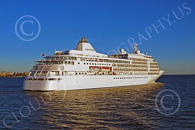 OLS 00011 SILVERSEAS' ocean liner SILVER WHISPER under way in New York Harbor, by John G Lomba