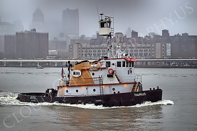 TUGB 00013 The tugboat TAURUS on the East River in New York City, maritime picture, by John G Lomba