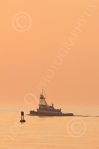TUGB 00011 A tugboat in New York Harbor at twilight, by John G Lomba