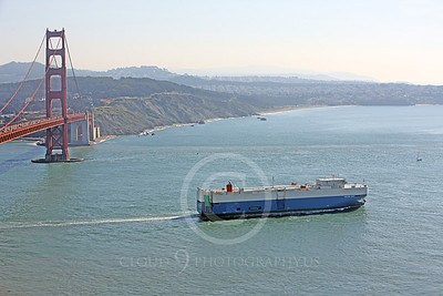 VCS 00009 An expansive view of the SALVIA ACE, a modern vehicle carrier ship, as it leaves San Francisco Bay, by Peter J Mancus