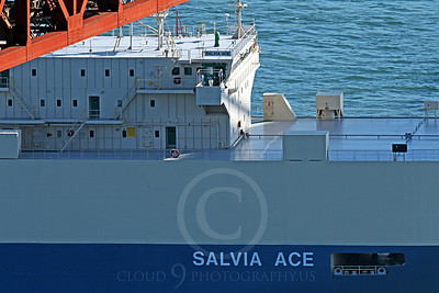VCS 00004 A tight crop on the housing structure of the SALVIA ACE, a modern vehicle carrier ship, as it passes under the Golden Gate Bridge, by Peter J Mancus