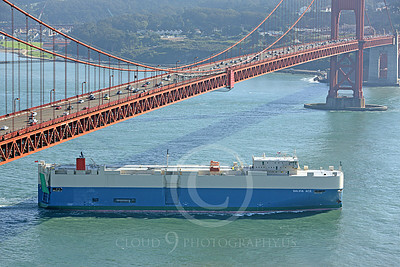 VCS 00006 The SALVIA ACE, a modern vehicle carrier ship, powers its way under the Golden Gate Bridge and into the Pacific Ocean, by Peter J Mancus