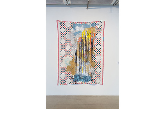 Sanford Biggers, <i>Quilt #26 (Waterfall)</i>, 2013, Fabric treated acrylic, spray paint, and silkscreen on on repurposed quilt. Collection of Ellen Alberding.