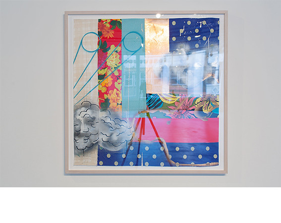 Sanford Biggers, <i>QC #13</i>, 2013, Fabric treated acrylic paint on textiles on archival paper. Collection of Dr. Daniel S. Berger, Chicago.