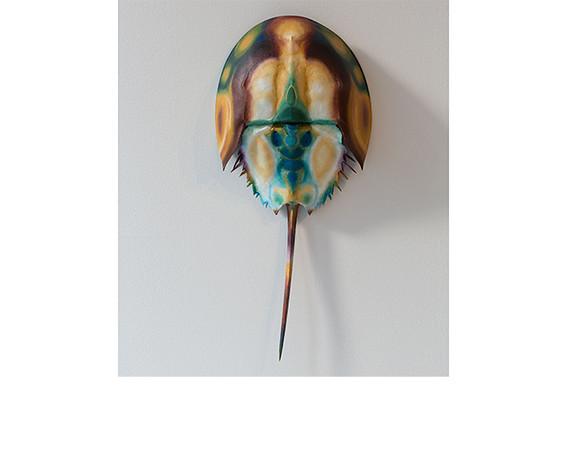 Puppies Puppies, <i>Horseshoe Crab (Green)</i>, 2015, Horseshoe crab shell, acrylic paint.