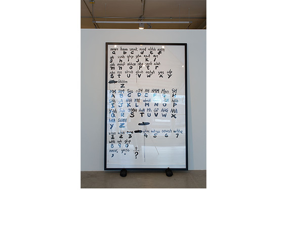Paul Chan, <i>Oh Narcisse (truetype font)</i>, 2008, Ink drawing, shoes. Collection of Jennifer Levine and Jeff Aeder.