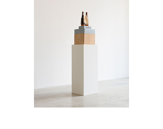Jessica Jackson Hutchins, <i>From MFA show</i>, bottles, wood, mixed media. Collection of Donna and Howard Stone.